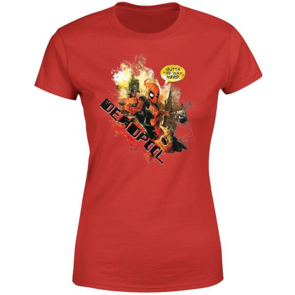 Marvel Deadpool Outta The Way Nerd Women's T-Shirt - Red