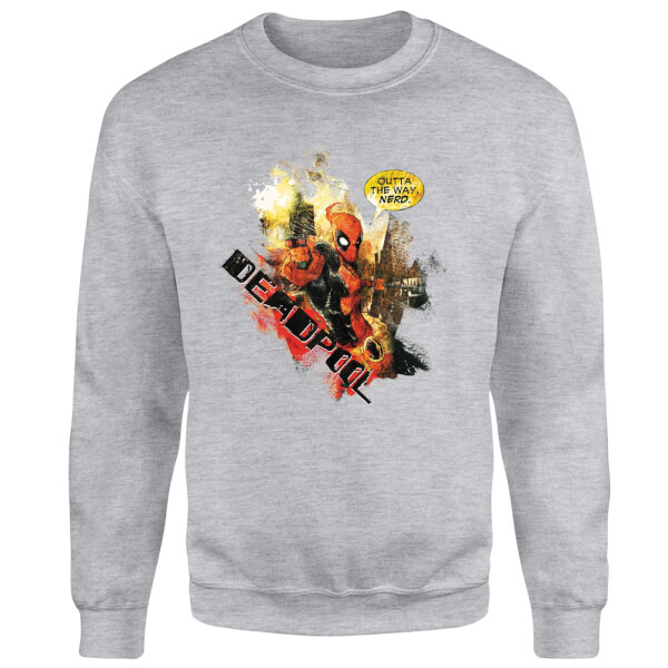 Marvel Deadpool Outta The Way Nerd Sweatshirt - Grey