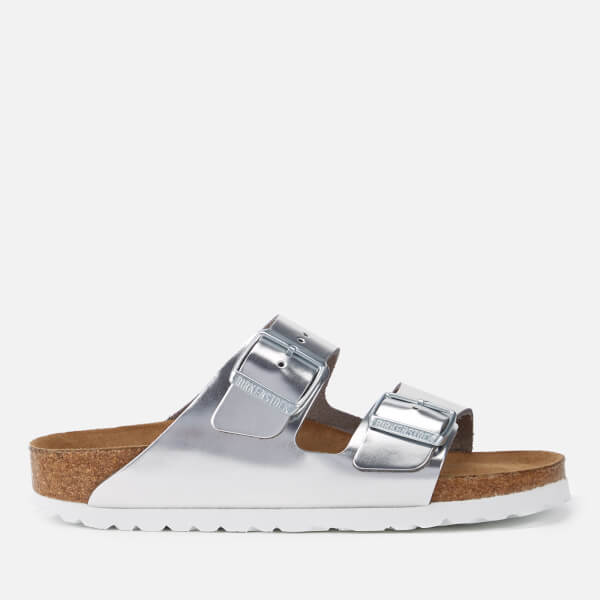 Birkenstock Women's Arizona Slim Fit Leather Double Strap Sandals - Metallic Silver