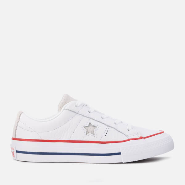 Converse Kids' One Star Ox Trainers - White/Gym Red/White