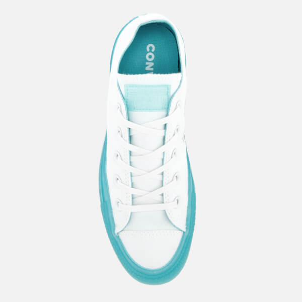 0d5a08782bc1 Converse Women s Chuck Taylor All Star Ox Trainers - White Bleached Aqua   Image 3
