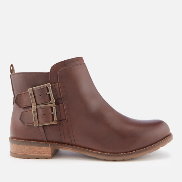 Barbour Women's Sarah Leather Buckle Flat Ankle Boots - Wine