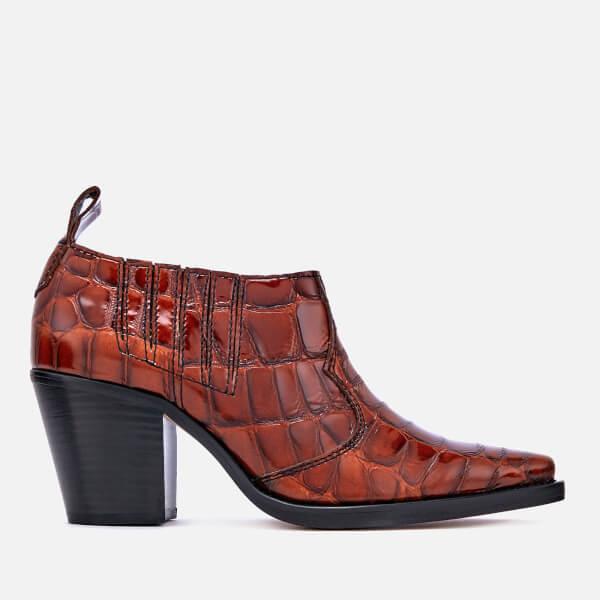 Ganni Women's Nola Heeled Ankle Boots - Cognac