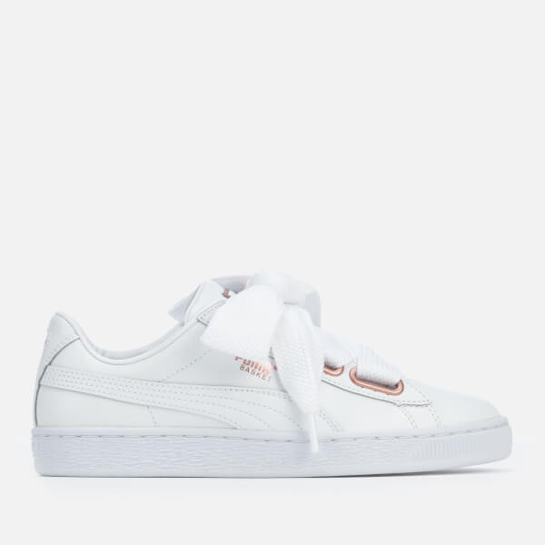 Puma Women s Basket Heart Leather Trainers - Puma White Rose Gold  Image 1 4bb9de1f5
