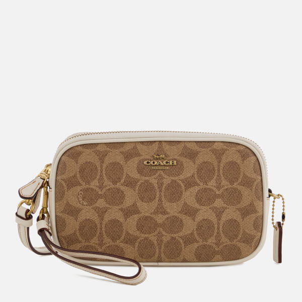 Coach Women s Colorblock Signature Cross Body Clutch Bag - Tan Chalk - Free  UK Delivery over £50 74cf365337