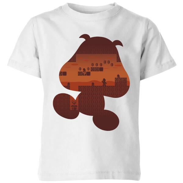 Nintendo Super Mario Goomba Silhouette Kids' T-Shirt - White