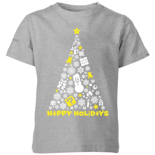 Nintendo Super Mario White Christmas Happy Holidays Kids' T-Shirt - Grey