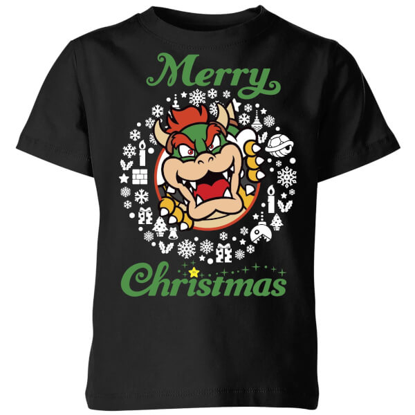 Nintendo Super Mario Bowser Merry Christmas Kids' T-Shirt - Black