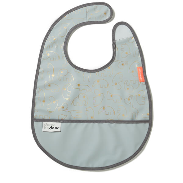 Done By Deer Bib With Velcro Contour - Gold & Grey
