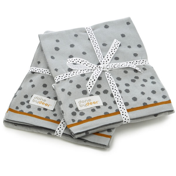 Done By Deer Knitted Blanket Happy Dots - Grey