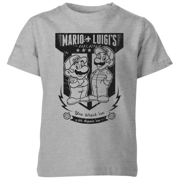 Nintendo Super Mario Mario Kart Fix-It Team Kids' T-Shirt - Grey
