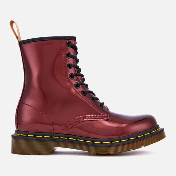 010a2cf20b9 Dr. Martens Women's 1460 Vegan Chrome Metallic 8-Eye Boots - Oxblood | FREE  UK Delivery | Allsole