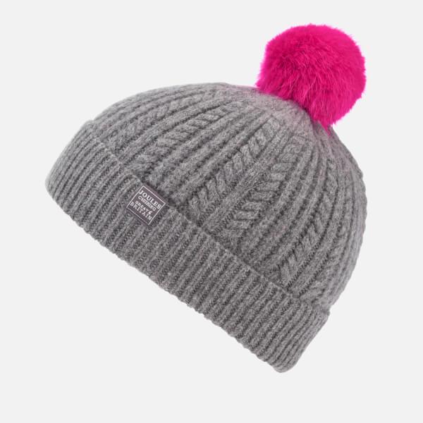 e42d0fc99153e Joules Women s Bobble Hat Fine Cable with Faux Fur Pom - Dark Grey  Image 2