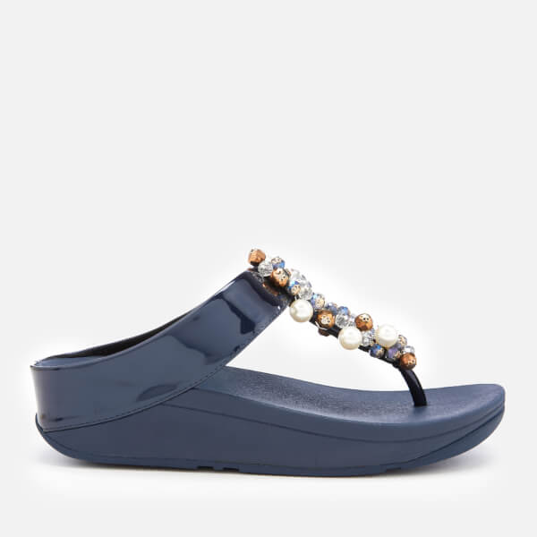 268b9fb1ad6914 FitFlop Women s Deco Bejewelled Toe Post Sandals - Midnight Navy  Image 1