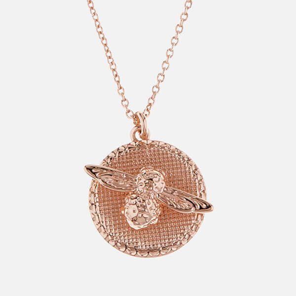 Olivia Burton Women's 3D Bee Disc Necklace - Rose Gold