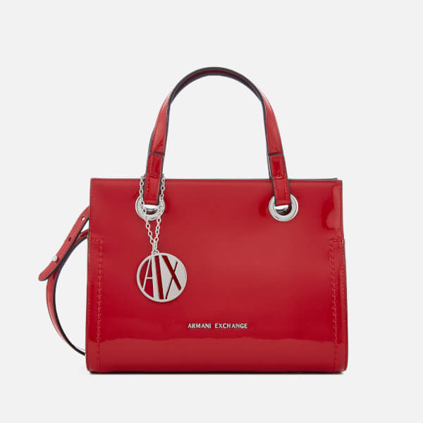 Armani Exchange Women's Patent Logo Small Tote Bag - Red