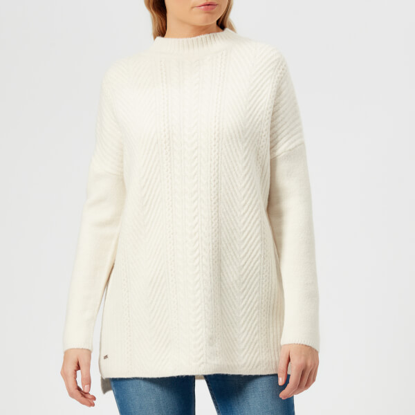 Joules Women's Fallon Funnel Cable Knitted Jumper - Cream Marl