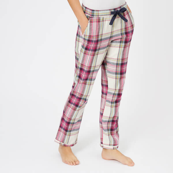 Joules Women's Snooze Brushed Cotton Woven PJ Bottoms - Plum Dorris Check