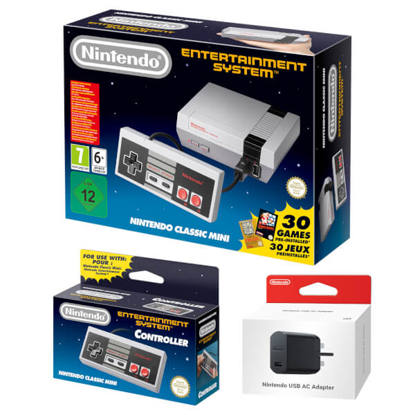 Nintendo Classic Mini: Nintendo Entertainment System + NES Controller + Nintendo USB Power Adapter
