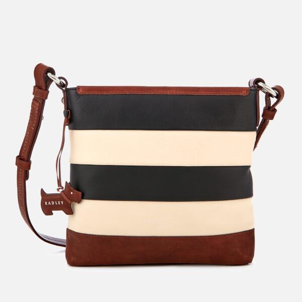 Radley Women's Babington Stripe Medium Zip-Top Cross Body Bag - Black/Oyster