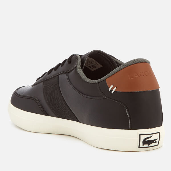 fcb89151b345 Lacoste Men s Court-Master 318 2 Leather Vulcanised Trainers - Black Brown   Image