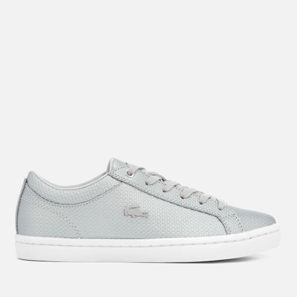 a8070d288eae Lacoste Women s Straightset 318 2 Embossed Leather Trainers - Silver White