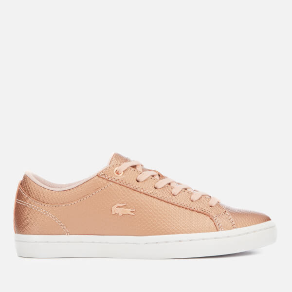 Lacoste Women's Straightset 318 2 Embossed Leather Trainers - Light Pink/White