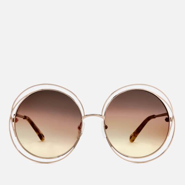 9e283d78d07 Chloe Women s Carlina Round-Frame Sunglasses - Gold Grey Orange  Image 1