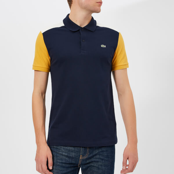 db99e299c3368 Lacoste Men s Colour Block Polo Shirt - Navy White Yellow - Free UK Delivery  over £50