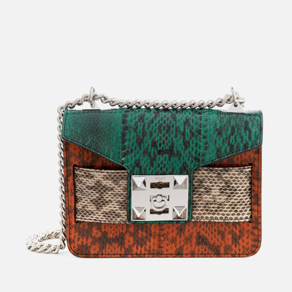 SALAR Women's Mila Snake Cross Body Chain Bag - Pine/Cream/Orange