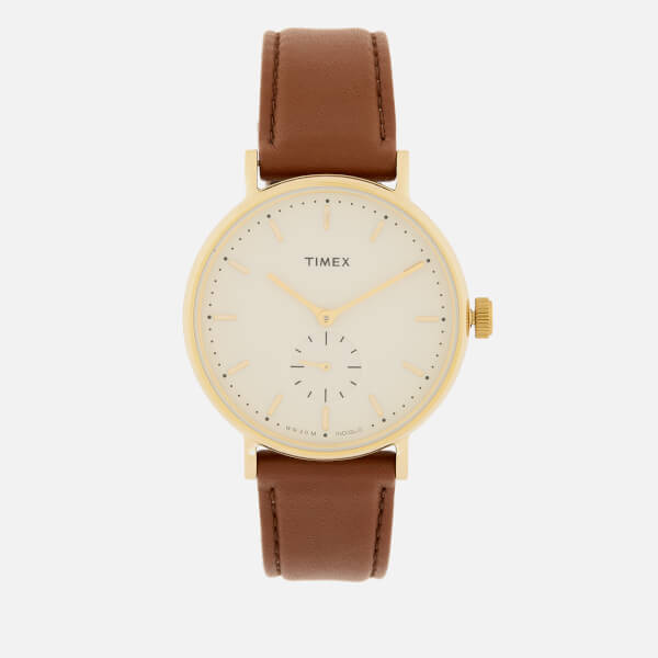 Timex Men's Fairfield Sub-Second Leather Strap Watch - Gold-Tone/Brown/Cream