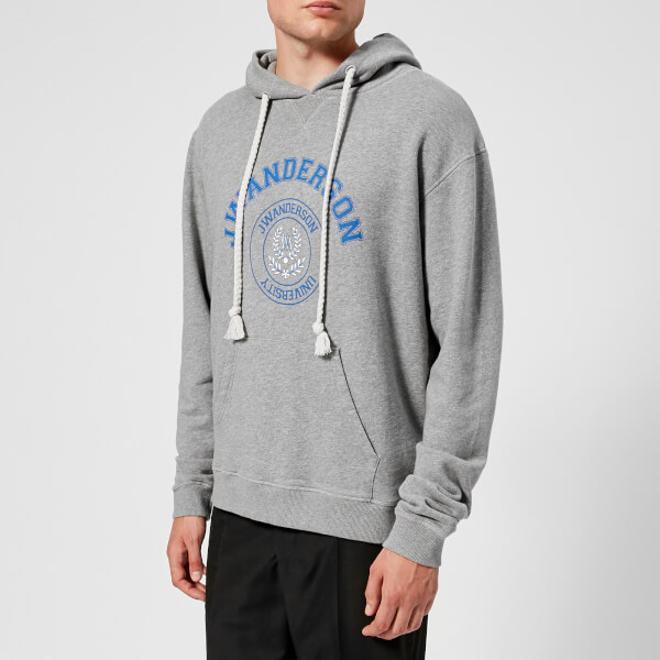JW Anderson Men's University Print Hoodie - Light Grey Melange