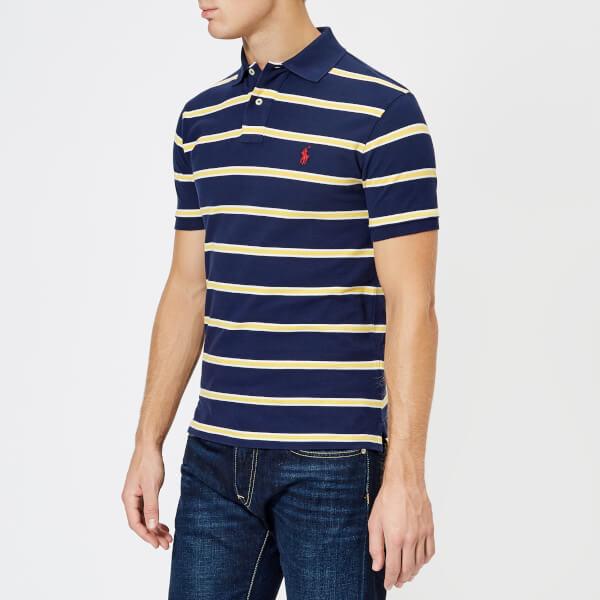 Polo Ralph Lauren Men's Stripe Short Sleeve Polo Shirt - Newport Navy/Artic Yellow