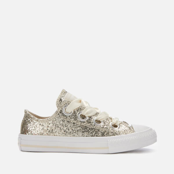 a9a08e41e6cd Converse Kids  Chuck Taylor All Star Big Eyelets Ox Trainers - Natural  Ivory White