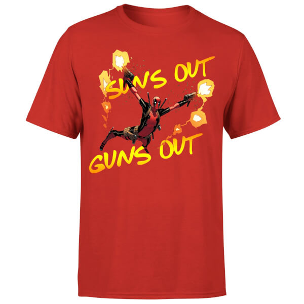 Marvel Deadpool Suns Out Guns Out Men's T-Shirt - Red
