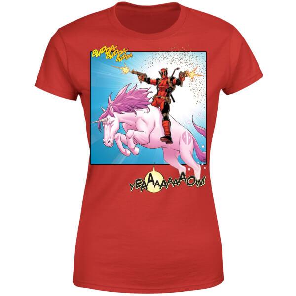 Marvel Deadpool Unicorn Battle Women's T-Shirt - Red