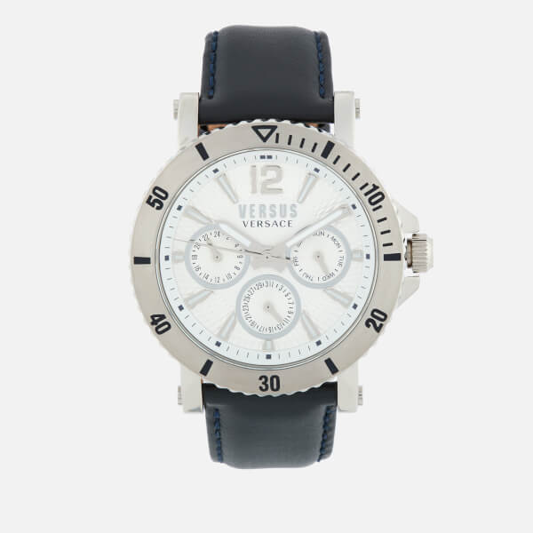 Versus Versace Men's Steenberg Leather Strap Watch - Navy/Silver