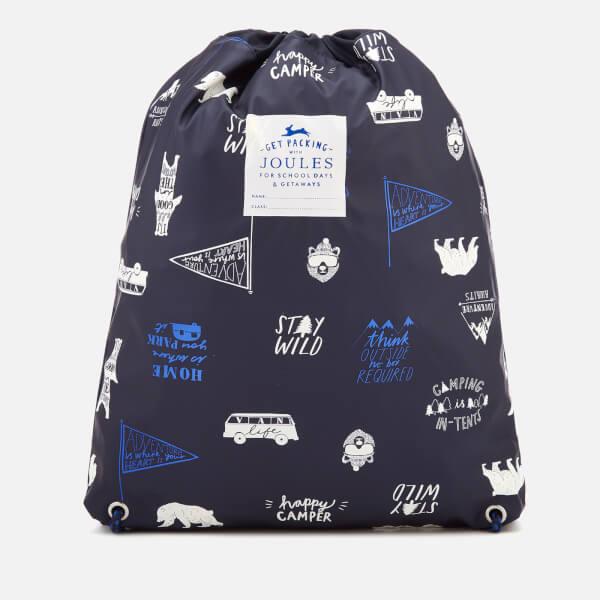 Joules Boys' Junior Rubber Drawstring Bag - Navy Happy Camper
