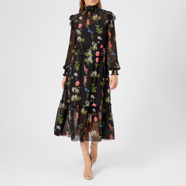 d808021f3455f1 Ted Baker Women s Simarra Florence Midi Long Sleeve Dress - Black  Image 1