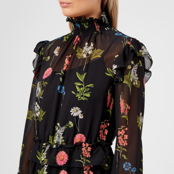 3d7253e1a356f8 Ted Baker Women s Simarra Florence Midi Long Sleeve Dress - Black  Image 4