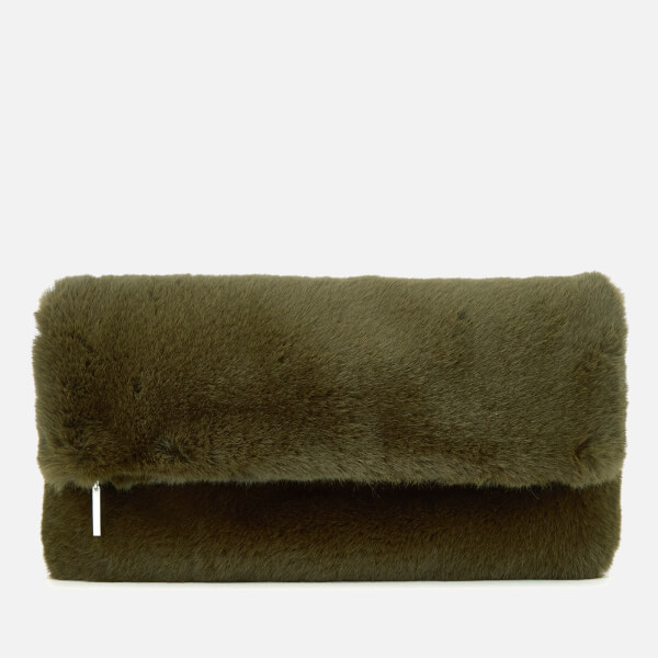 Whistles Women's Faux Fur Foldover Clutch Bag - Khaki