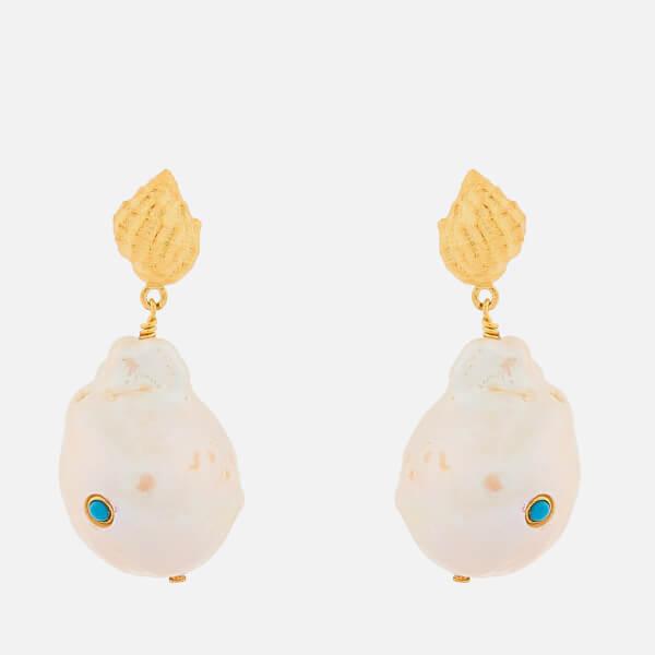 Anni Lu Women's Baroque Pearl Shell Earrings - Turquoise