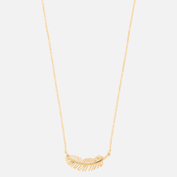 Whistles Women's Feather Pendant Necklace   Gold by My Bag