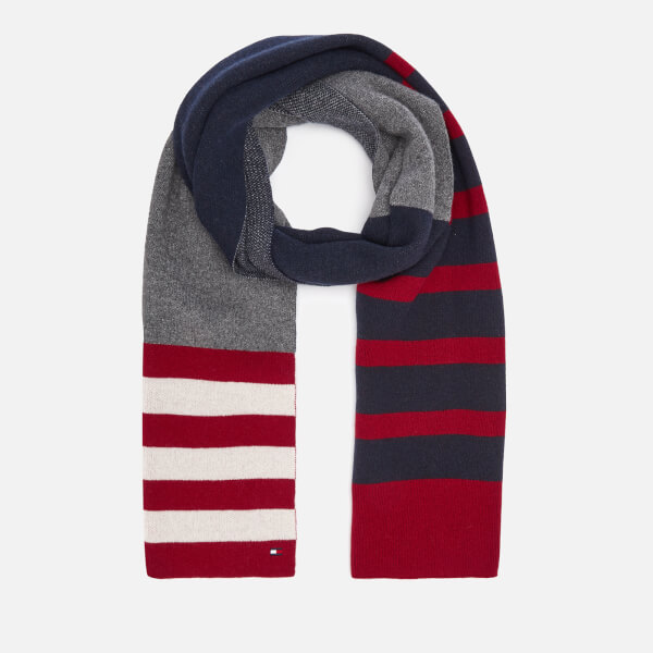 Tommy Hilfiger Men's Seasonal Stripe Scarf - Navy/White/Red