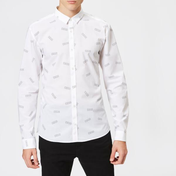 HUGO Men's Ero3 All Over Print Shirt - Open White