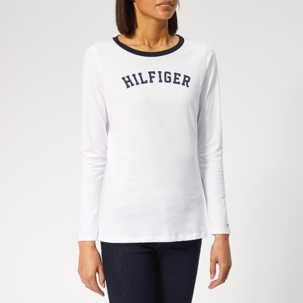 d8aca03a43602 Tommy Hilfiger Women s Long Sleeve Logo T-Shirt - White Womens ...