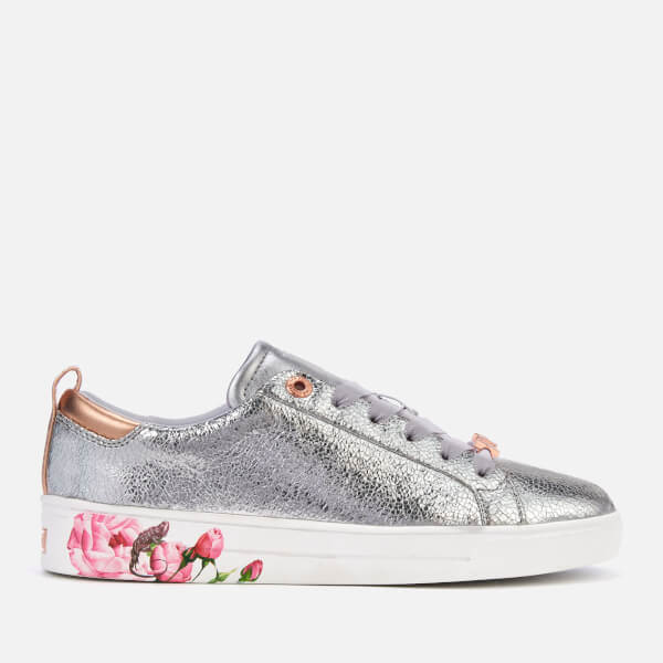 0e9eeae753cbc Ted Baker Women s Luoci Crackle Leather Low Top Trainers - Silver  Image 1