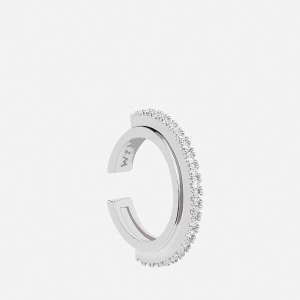 Astrid & Miyu Women's White Fitzgerald Circle Earcuff - Silver