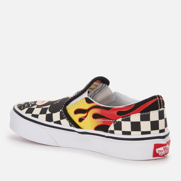 348781634a3ece Vans Kid s Disney Mickey   Minnie Classic Slip-On Trainers - Checker Flame   Image