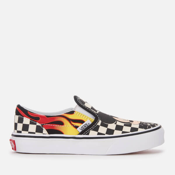 Vans Kid's Disney Mickey & Minnie Classic Slip-On Trainers - Checker Flame